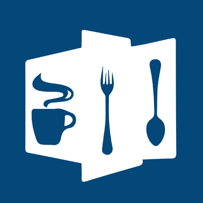 community suppers logo - an animated mug fork and spoon