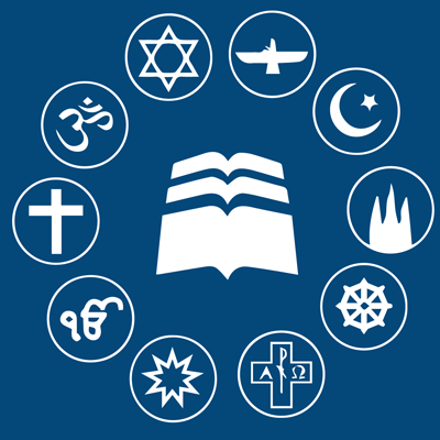 interfaith logo - many symbols of religion surrounding a book