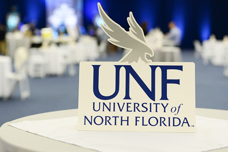 UNF Osprey sign on a table