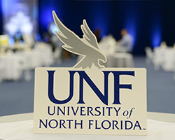 UNF sign on a table