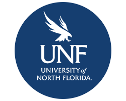 Blue circle with Osprey logo and text University of North Florida