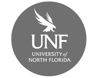 Gray circle with UNF logo