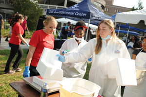 This year's Garbage on the Green had a record number of student volunteers.
