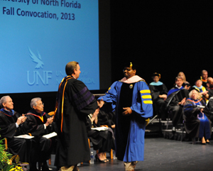 President Delaney handed out awards to faculty members during Convocation (Photos by Jennifer Grissom).