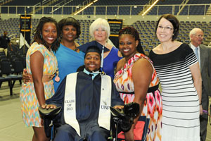 Townsend with a group of supporters after his graduation (Photo by Jennifer Grissom).