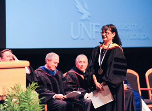 Dr. Judith Rodriguez prepares to deliver her speech (Photos by Jennifer Grissom).
