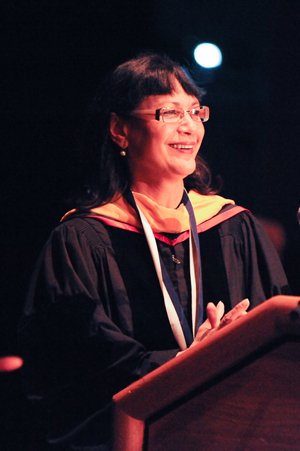 Dr. Judith Rodriguez delivers her Distinguished Professor speech.