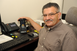 Jim Mousa in his office (Photo by Jennifer Grissom).