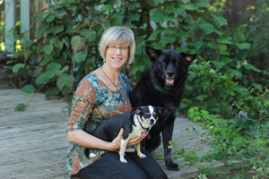 Betsy Nies with her dogs, Miss Baxley and Forrest (Photo by Jennifer Grissom).