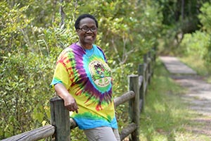 A photo of Dr. Edythe Abudllah on the UNF Nature Trails