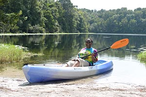 A photo of Dr. Abdullah in a kayak on Lake Oneida (photos by Jennifer Grissom)