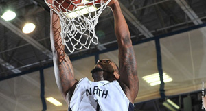 Senior forward Travis Wallace dominated the paint, posting a career high in rebounds (Photo courtesy of UNF Athletics Department).