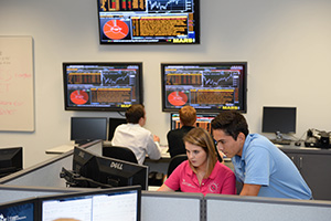 Students at work in the state of the art Osprey Financial Group lab (photo by Jennifer Grissom)