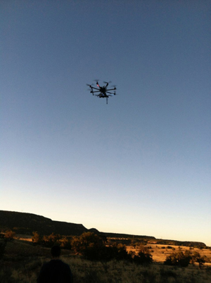 The drone in the sky, surveying the landscape (Photos submitted by Dr. John Kantner)