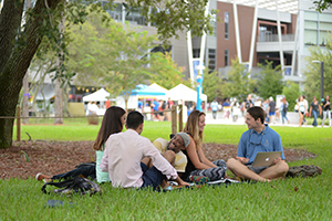 A photo of a group of students enjoying some down time on the grass near the Student Union (photo by Jennifer Grissom)