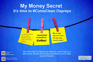 An advertisement about the Financially Fit Ospreys upcoming financial literacy event.