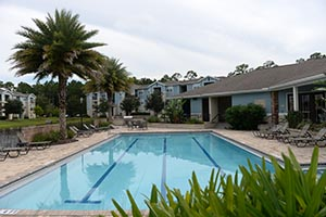 A photo of the Flats property, including the pool at the main office.