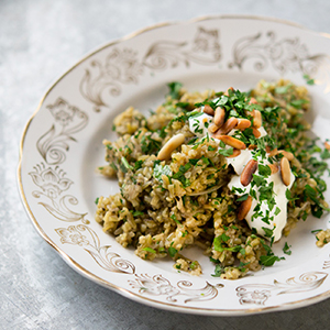 A photo of a dish prepared with freekeh