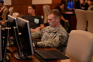 A photo of a military student in a logistics classroom (photo by Jennifer Grissom)