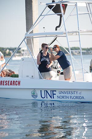 A UNF biology class on a research vessel working on projects dealing with the St. Johns River (photo by Jennifer Grissom)