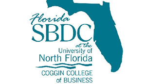 A photo of the Small Business Development Center's logo featuring a cutout of the state of Florida