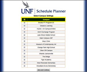 A screen shot of UNF's new and improved student scheduling tool