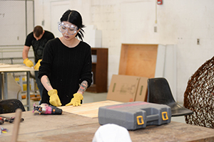 A photo of a sculpture student at work in the new space (photos by Jennifer Grissom)