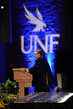 President John A. Delaney addressed the crowd during Convocation