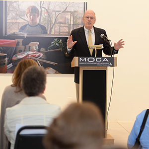 A photo of Preston Haskell addressing the crowd during a press conference at MOCA Jacksonville