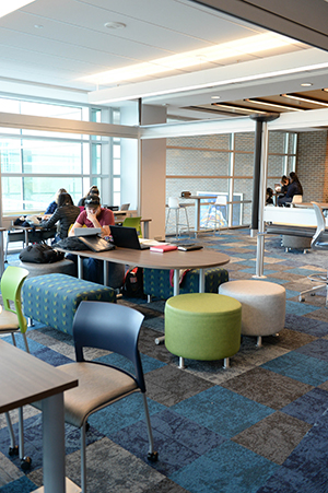 A photo of the new, modular seating arrangements at the library (photos by Jennifer Grissom)