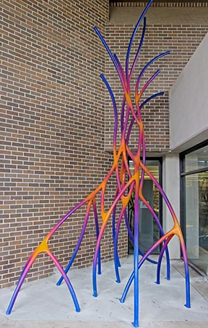 Mary Ratclif's Connection sculpture outside the Library