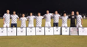 UNF men's soccer players during the seniors game