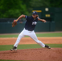UNF baseball player Daniel Moritz throwing a pitch from the mound