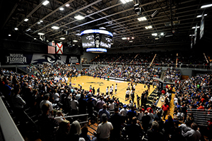 UNF Arena filled with fans watching a basketball game