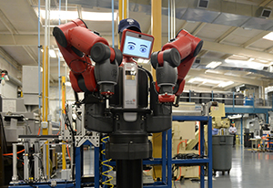 Donated robot Baxter shown wearing UNF cap