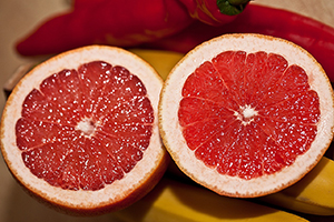 Grapefruit halves showing ruby red color