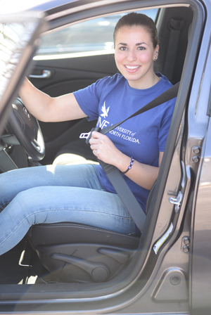 Student driver buckles seat belt