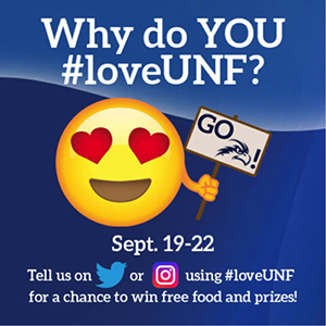 Why do You love UNF poster to announce social media contest