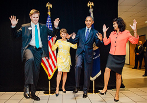 UNF student Caleb Grantham shows President Obama how to swoop with Joy Korman and Radha Pyati