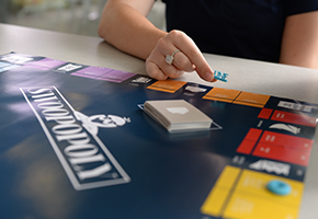 student playing board game
