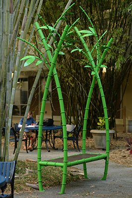 Bamboo bench sculpture by student Mary Ratcliff