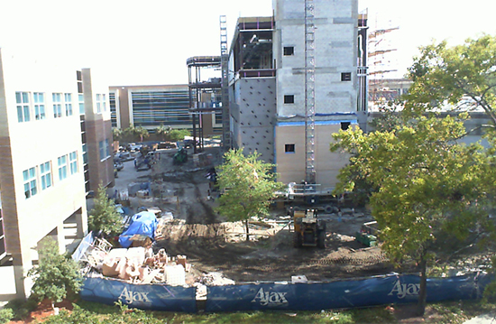 View of Skinner-Jones Hall construction from engineering camera