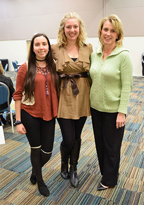 From left UNF students Courtney Hogan and Brianna Ballard with Dr. Lauri Wright