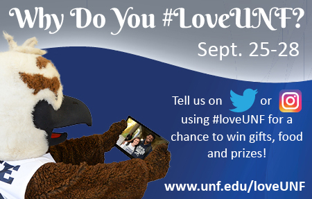 Why do You Love UNF poster featuring Ozzie the Osprey