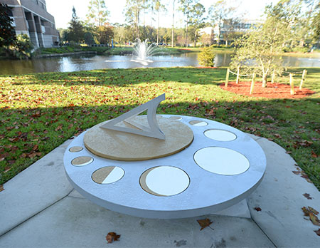Sundial bench sculpture by student Nick DeGennaro