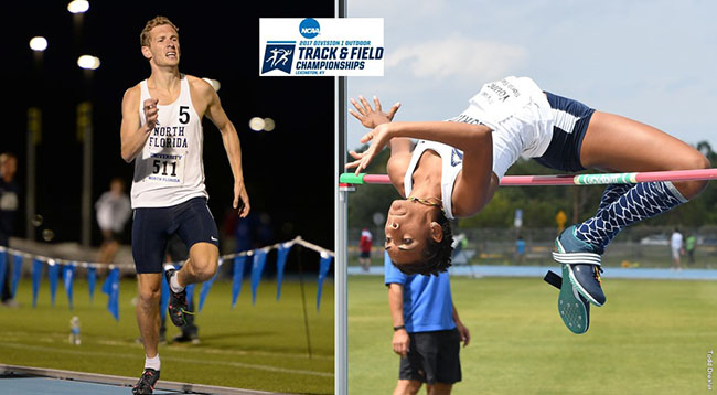UNF track and field's Fynn Timm and Alyssa Young at NCAA championships