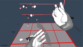 Virtual reality tool that looks like hands to touch images in 3-D