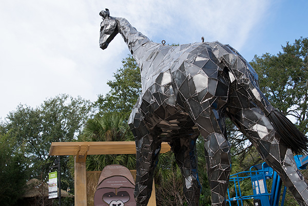 UNF professors create steel giraffe for Jacksonville Zoo, photo by Briana Quay