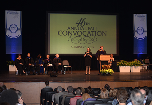 2017 Convocation award ceremony onstage before an audience