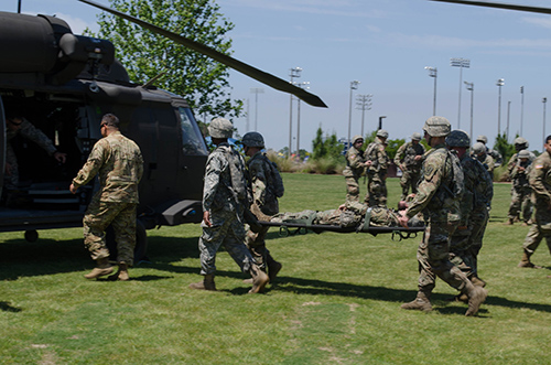 ROTC students practice evacuation techniques